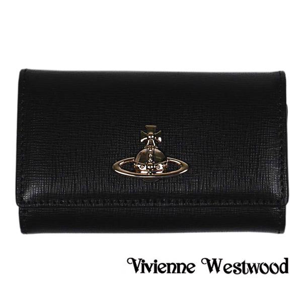 【Vivienne Westwood】ヴィヴィアン ウエストウッド 6連キーケース メンズ/レディース ブラック 51020001 SAFFIANO BLACK【送料無料】