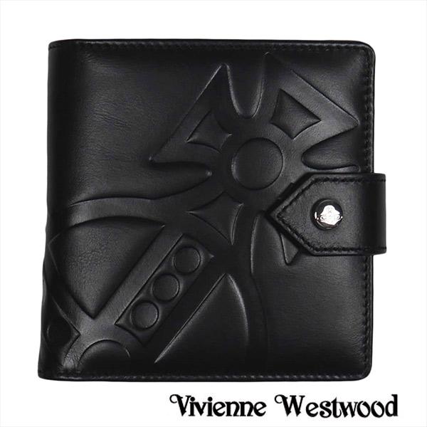 ヴィヴィアン 財布【Vivienne Westwood】ヴィヴィアン ウエストウッド 二つ折り財布(小銭入れ付) メンズ ブラック 51090001 GIANT ORB BLACK【送料無料】