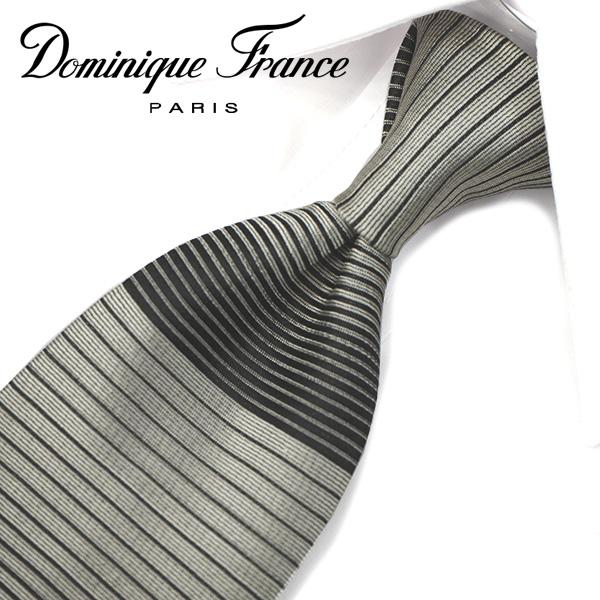 ドミニク・フランス ネクタイ(8cm幅) ツースター DF37【Dominique France・ドミニクフランス ネクタイ】 グレー/ブラック ネクタイ ブランド【送料無料】