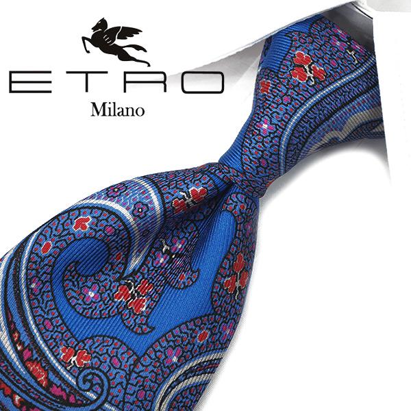エトロ ネクタイ【ETRO】(8cm) ET16【エトロネクタイ・ネクタイ ブランド】ブルー/ピンク ペイズリー柄【送料無料】