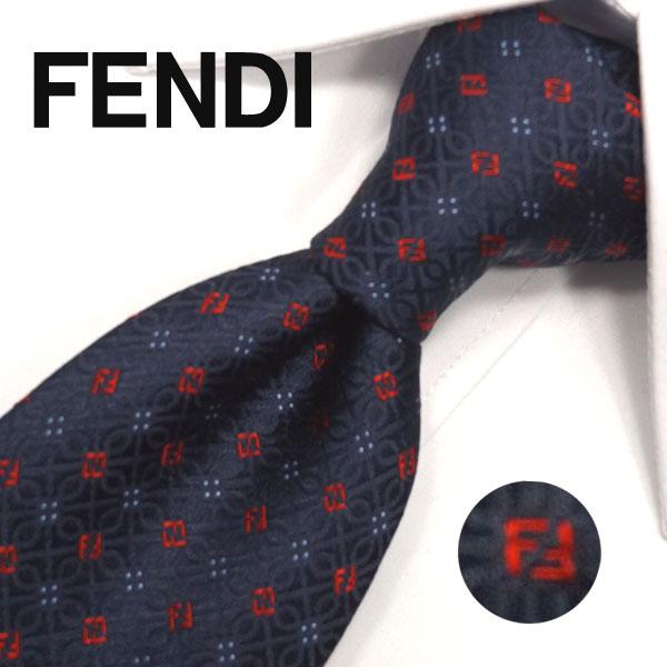 フェンディ ネクタイ(8cm) FFA39 【FENDI・フェンディネクタイ・ネクタイ ブランド】ネイビー/レッド【送料無料】