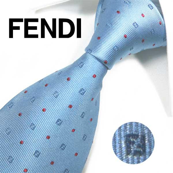 フェンディ ネクタイ(8cm) FFA60 【FENDI・フェンディネクタイ・ネクタイ ブランド】スカイブルー/レッド【送料無料】