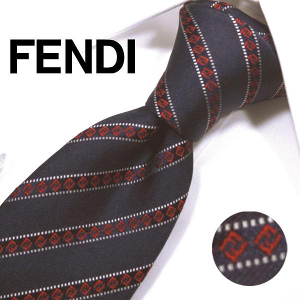 フェンディ ネクタイ(8cm) FFA74 【FENDI・フェンディネクタイ・ネクタイ ブランド】ネイビー/レッド【送料無料】