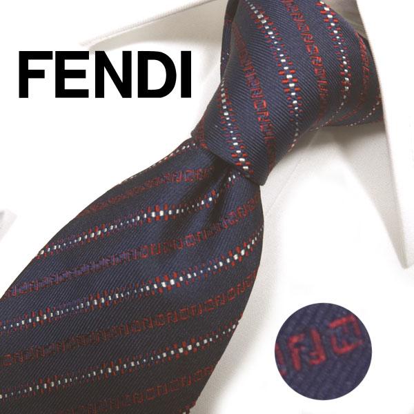 フェンディ ネクタイ(8cm) FFA78 【FENDI・フェンディネクタイ・ネクタイ ブランド】ネイビー/レッド【送料無料】