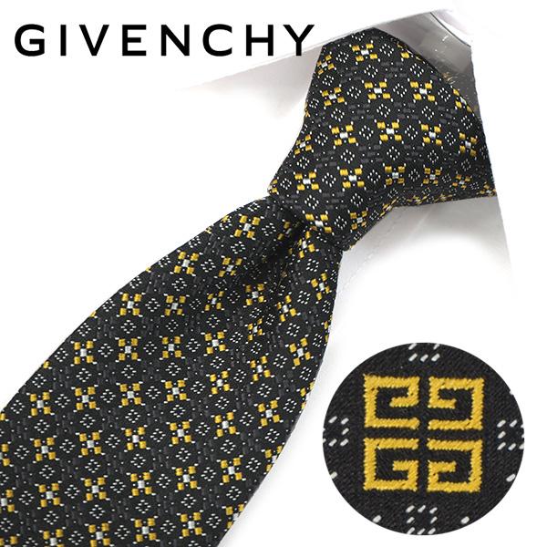 ジバンシー ナローネクタイ(6.5cm幅) 【GIVENCHY・ジバンシーネクタイ・ネクタイ ブランド】 ブラック/イエロー GIV37【送料無料】