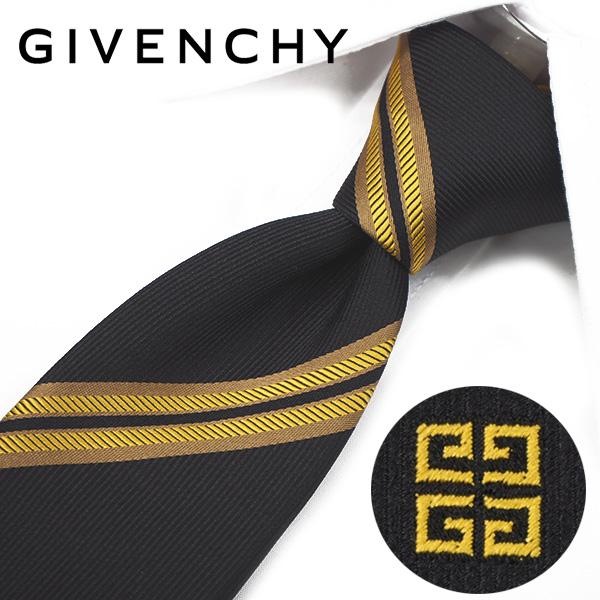ジバンシー ナローネクタイ(6.5cm幅) 【GIVENCHY・ジバンシーネクタイ・ネクタイ ブランド】 ブラック/ゴールド GIV43【送料無料】