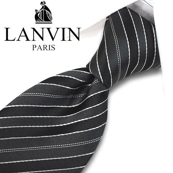 ランバン ネクタイ(8cm幅) LA104 【LANVIN・ランバンネクタイ・ネクタイ ブランド】 ブラック/グレー 【送料無料】
