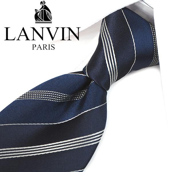 ランバン ネクタイ(8cm幅) LA99 【LANVIN・ランバンネクタイ・ネクタイ ブランド】 ネイビー 【送料無料】