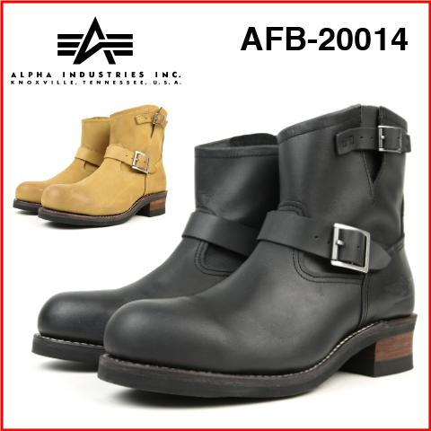 ALPHA INDUSTRIES アルファインダストリーズafb-20014エンジニア ブーツ メンズ ブランドBLACK BROWNブラック ブラウン 黒本革 牛革 オイルレザー クレイジーホースグッドイヤー ウエルトスチールキャップトゥ