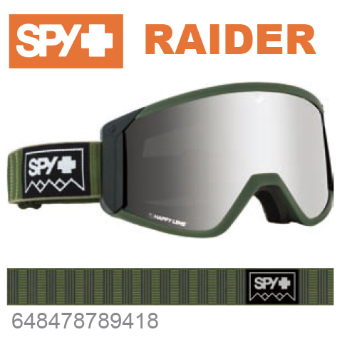 SPY スパイRAIDER レイダー648478789418ジャパンフィットフォーム バックル式ストラップDEEP WINTER OLIVEスキー スノーボード スノボ ゴーグル