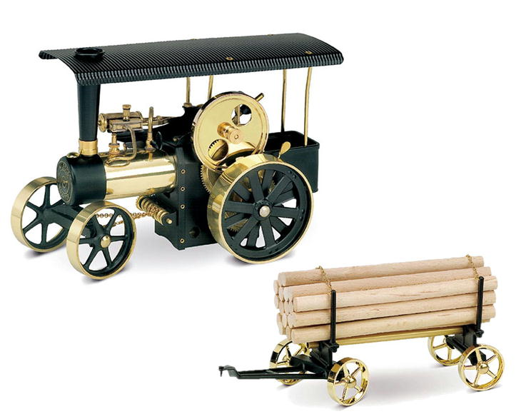 Wilesco ヴィレスコ 蒸気エンジン付 道路転圧車 集材車付き D406(道路転圧車)A426(集材車)模型