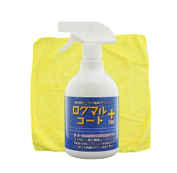 車用ガラスコーティング剤 ロクマルコートプラス 650ml 拭き取り用タオル付 簡単/ワックス/自動車