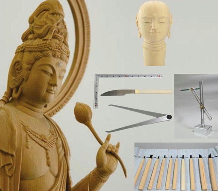 自分で作る こころの仏像彫刻・基礎シリーズ5 仏頭 DVD+材料(2本)+道具セット