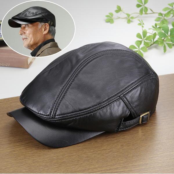 羊革ハンチング 黒 レザー ラム革 YS-20 紳士 ファッション シニア 帽子