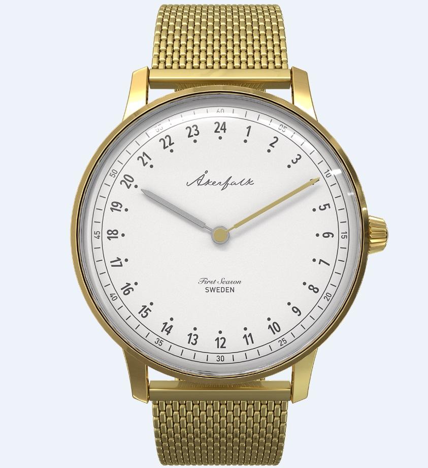 【日本正規販売店】Åkerfalk オーカーフォーク 腕時計 ゴールド AK-122 スウェーデン 24時間表示 60'sヴィンテージデザイン ウォッチ