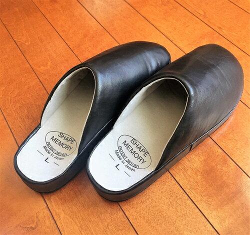 ラクラクドクターシューズ ブラック 本革 日本製 /室内履き 紳士 ビジネス メンズ サンダル コンフォート レザースリッパ