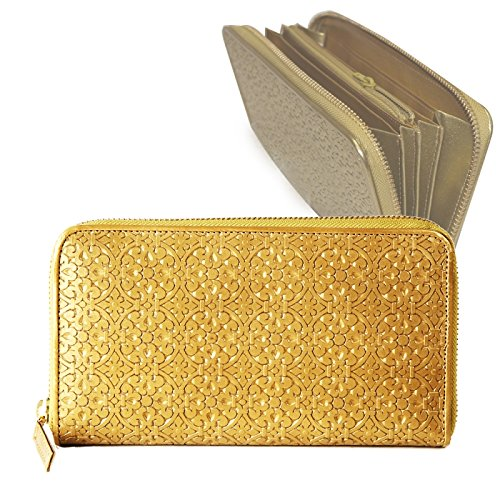 MEGA 屯(メガトン) 押し 幾何学柄 ラウンドファスナー財布 (小銭入れ付き) ゴールド 牛革 100834