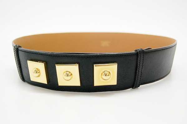 Hermes studded leather belt 75 black gold metal ZO ticking