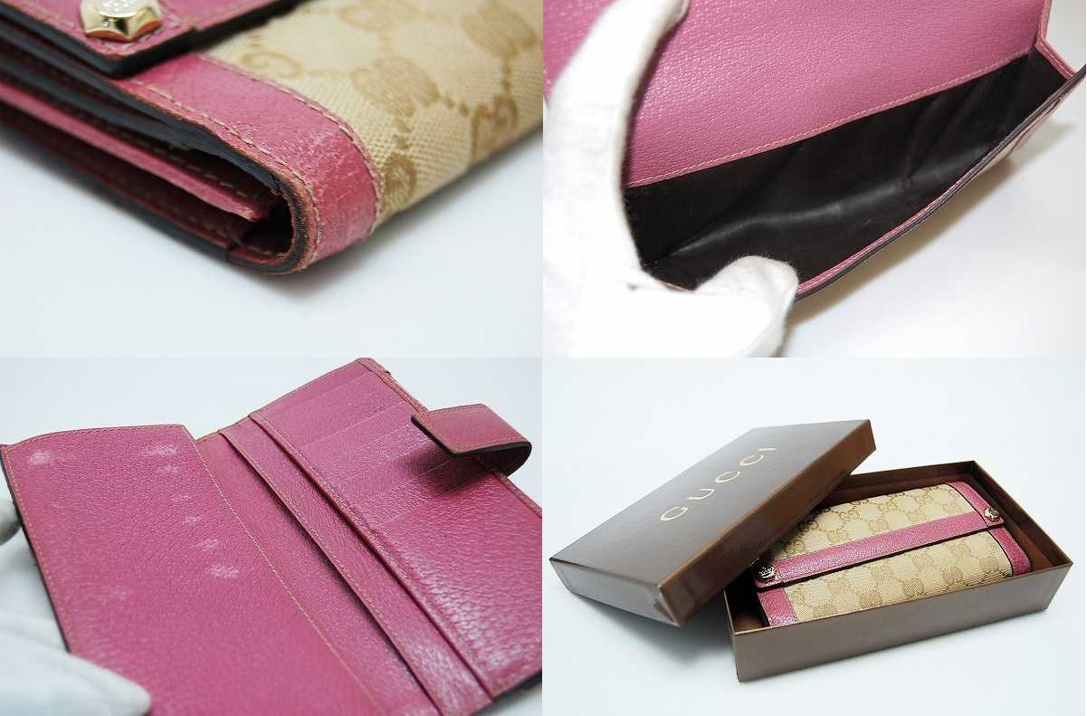"""Gucci CHARMY (charmy) GG W hook length wallet beige / pink 153211 """"response.""""-fs3gm"""