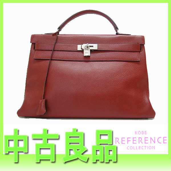 HERMES Hermes Kelly 40 handbag in sewing fjord Rouge ash Matt silver metal D time used