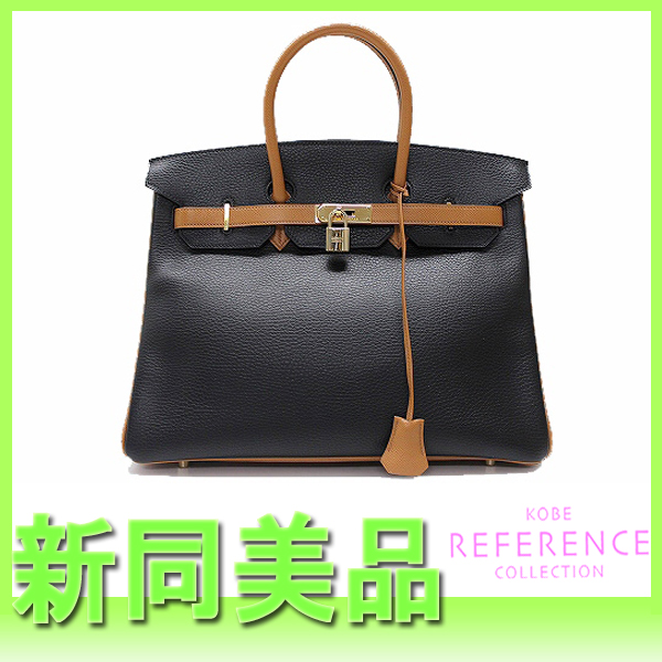 118b957e021 HERMES Hermes personal order Birkin 35 by color CELINE handbag black X gold  gold metal fittings I 刻新品同様