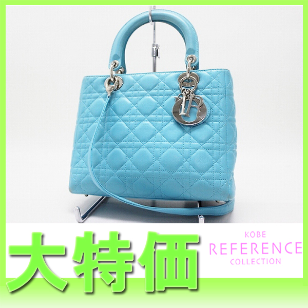 "Dior Lady Dior 2005 in Ginza 50 limited edition 2-WAY handbag lambskin sky blue ""response."""