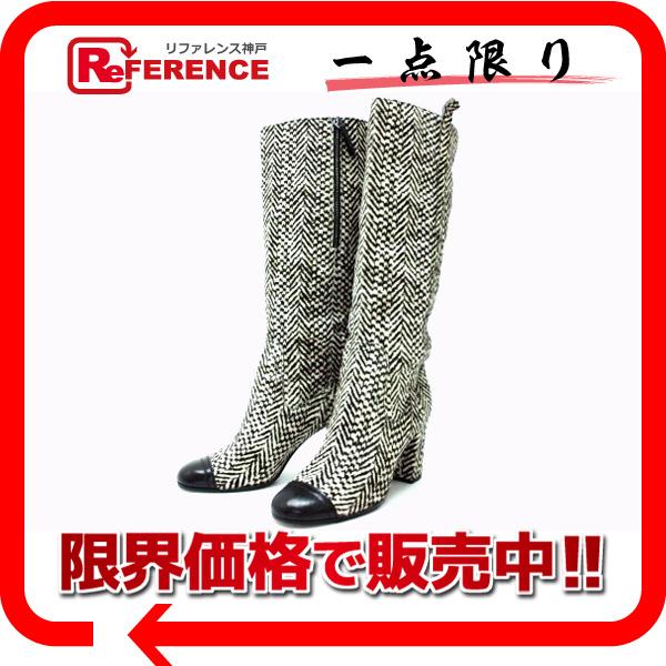 CHANEL シャネル ハラコ ロングブーツ 37.5 ブラック×ベージュ系 【中古】