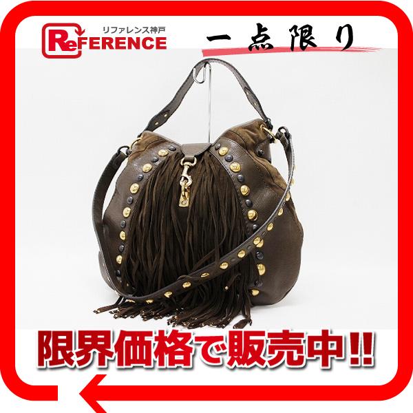 GUCCI 古奇 BABOUSKA (头巾) 2WAY 挎包老式皮革 x 麂皮布朗 207300 美容产品