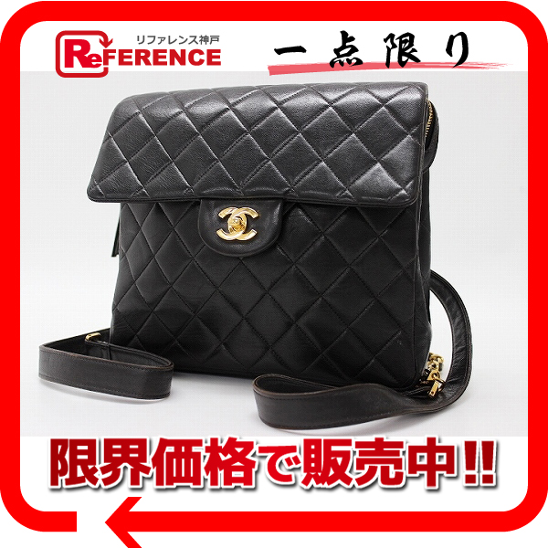 CHANEL Chanel lambskin matelasse backpack black used