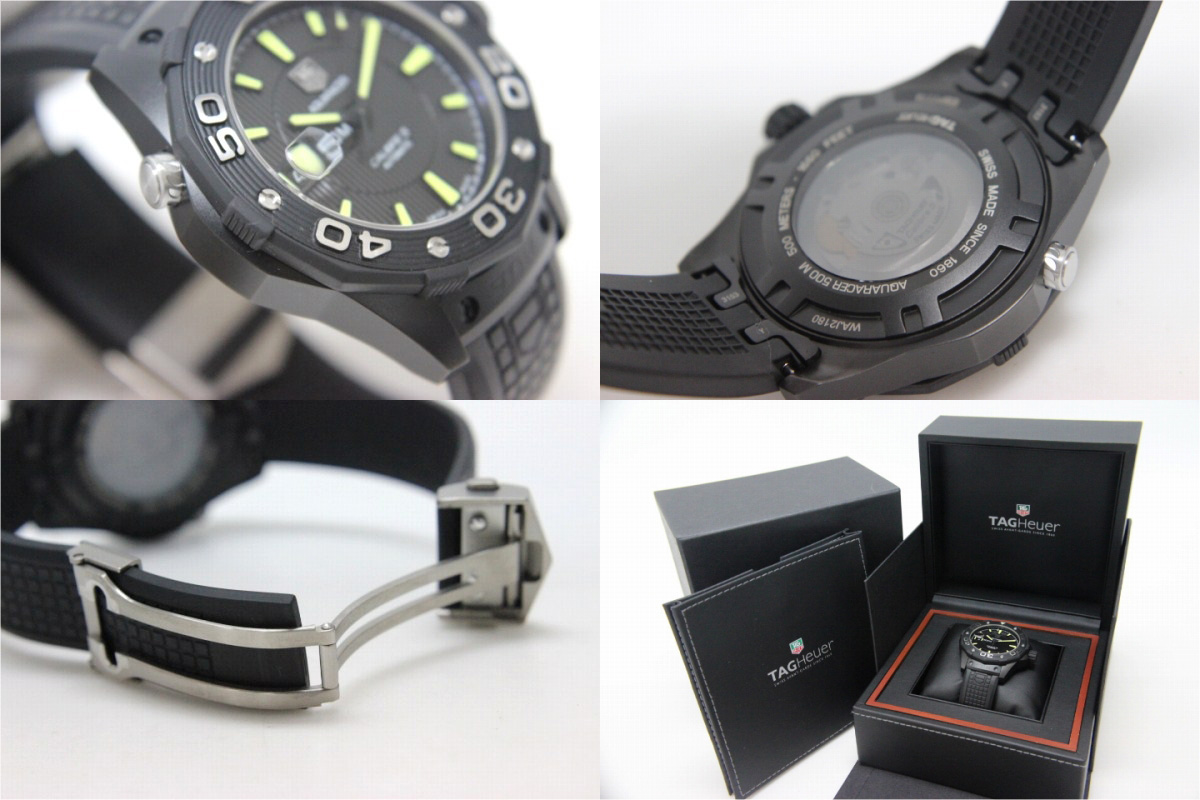 TAG HEUER Tag Heuer new Aqua racer 500 m full black calibre 5 mens watch automatic WAJ2180 brand new as well as used