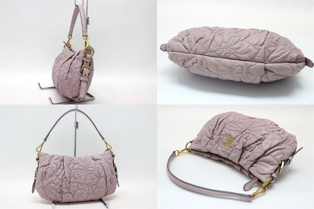 PRADA NAPPA STITCHES( ナッパステッチ) semi-shoulder bag ぺ Taro (pink system) BR3936 》 fs3gm for 《