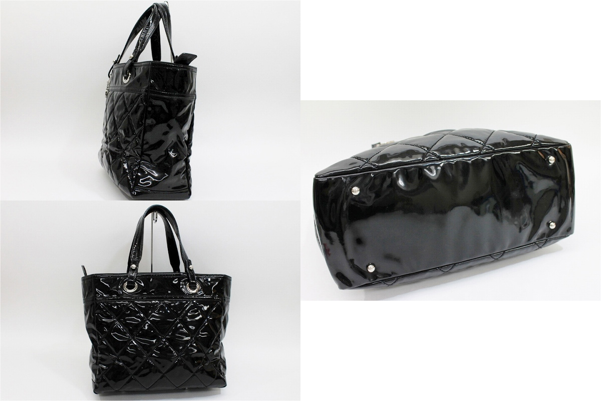 CHANEL Paris-Biarritz Enamel Tote Bag Black