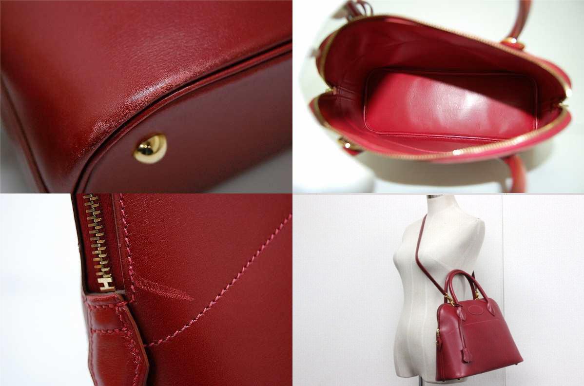 """31. Hermes""""boring"""" handbag Bock scarf Rouge system G inscribed with shoulder strap fs3gm"""