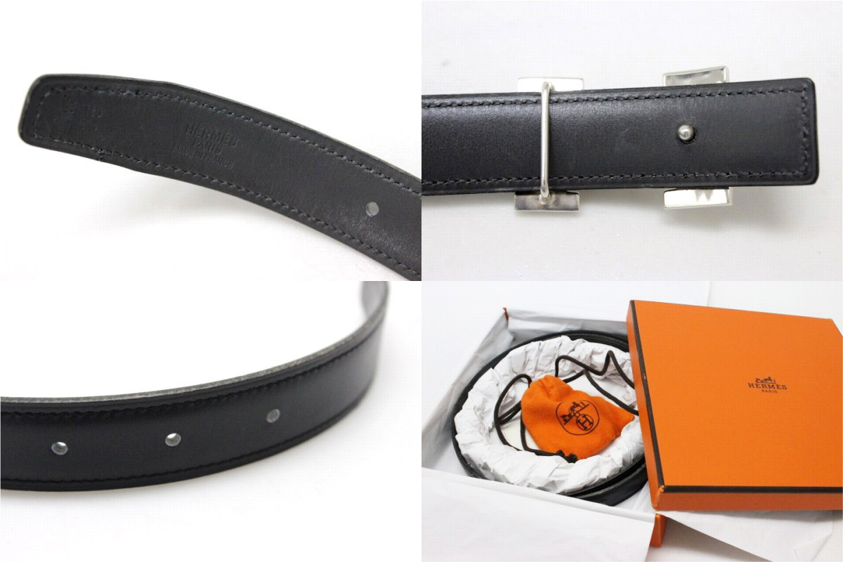 "Hermes Tuareg mini H belt reversible box 75 Cafe black x grey Silver 925 B ticking ""response."""