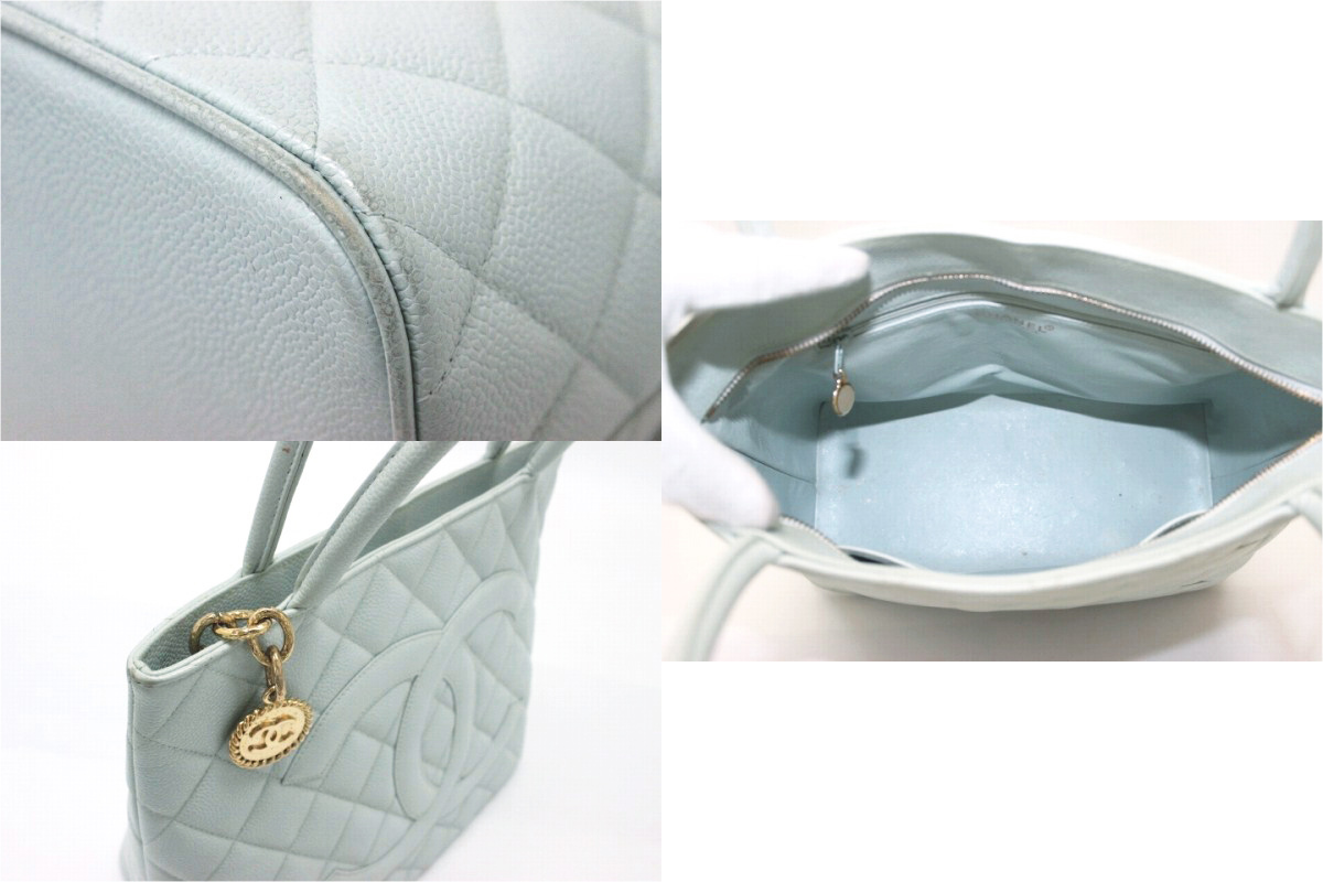 "Chanel caviar skin reprint Tote light blue gold BRACKET ""response.""-fs3gm"