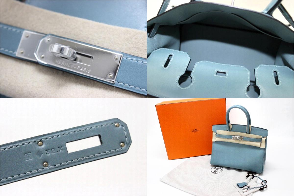 """HERMES """"Birkin 30 """"Hand Bag Veau Tadelakt Ciel/Silver Metal HW Q-Engraved"""