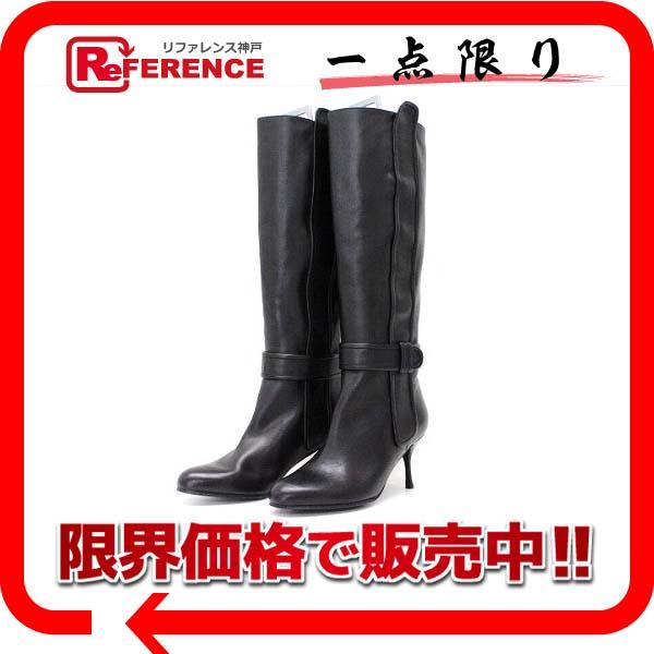 Ferragamo フェラガモ レザー ロングブーツ 靴 4.5 ブラック 新品同様 【中古】