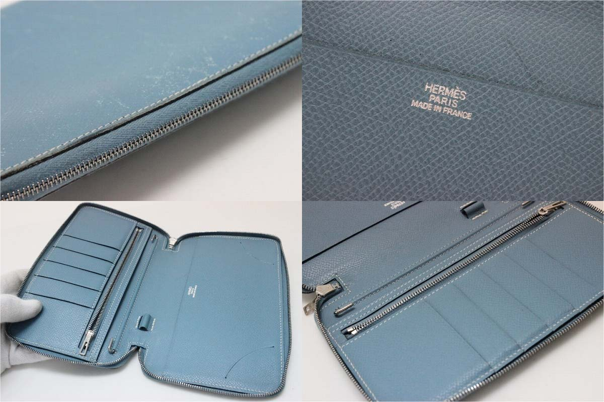 """Fs3gm Hermes アジェンダジップ zip around pocketbook cover Epson Blue Jean silver metal I ever-s compatible."""""""