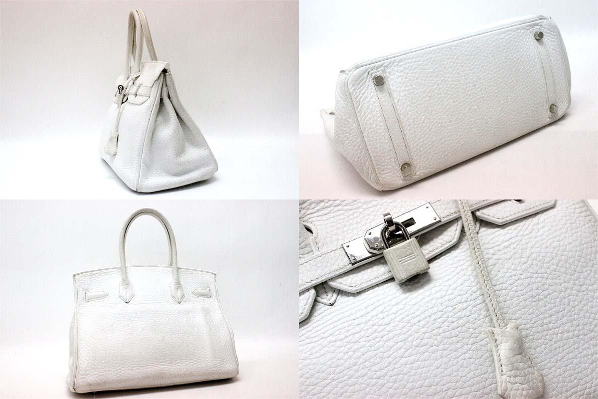 HERMES Hermes handbag Birkin 30 white silver metal triyoncremans I ever-0601 Rakuten card Division