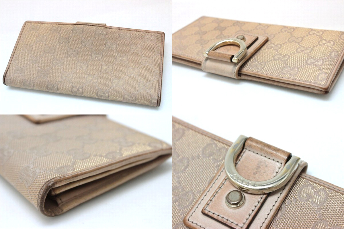 GUCCI Gucci NEW ABBEY (new Abbey) GG two bi-fold wallet pink beige x Gold lame 141412-owned KK