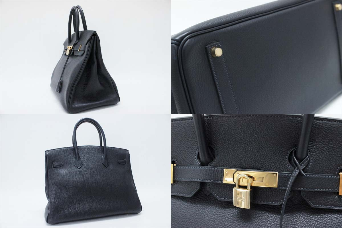 "Hermes handbags HERMES ""Birkin 35"" triyoncremans indigo blue gold bracket B time used KK's"
