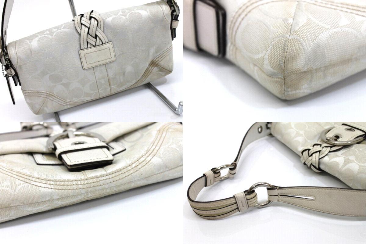 Used COACH coach SOHO signature small f rap semishoulder bag white 6280