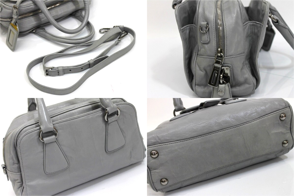 PRADA Prada leather 2-WAY handbag grey used