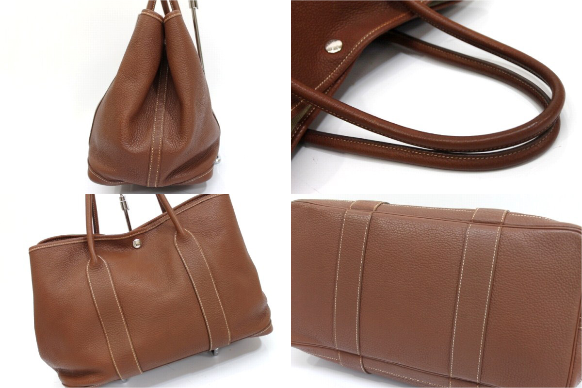HERMES Garden Party PM Tote Bag Negonda Leather Brown