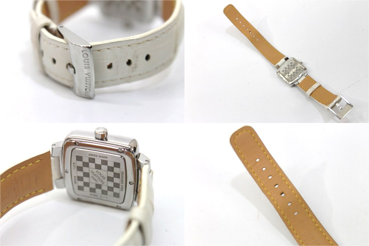 LOUIS VUITTON Magic Speedy Ladies Wristwatch SS White Alligator Leather Belt Quartz Q221J
