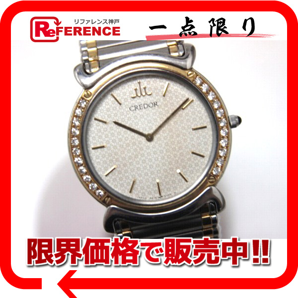 SEIKO セイコー クレドール リネアクルバLM メンズ腕時計 K18×SS ダイヤベゼル オニキスリューズ クオーツ 5A74-0190 【中古】