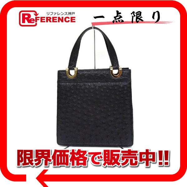 オーストリッチ ハンドバッグ トートバッグ ショルダーバッグ 黒 鞄 ブラック 【中古】