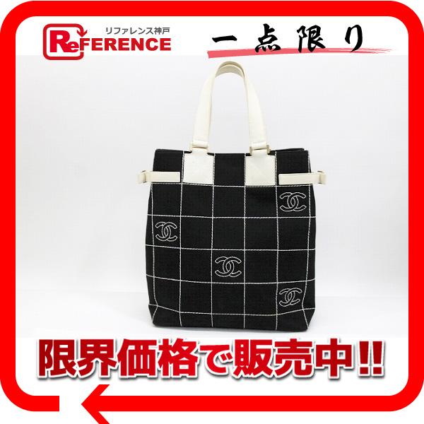 CHANEL シャネル CC チョコバー キャンバス トートバッグ ブラック×ホワイト 【中古】