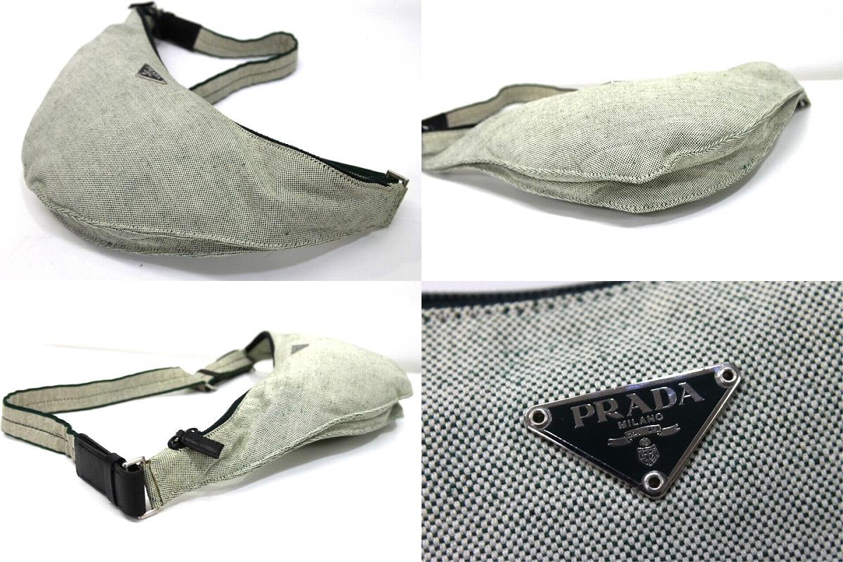 使用普拉達 (prada) 普拉達 (prada) canapa 運動帆布腰包肩包自然 V258