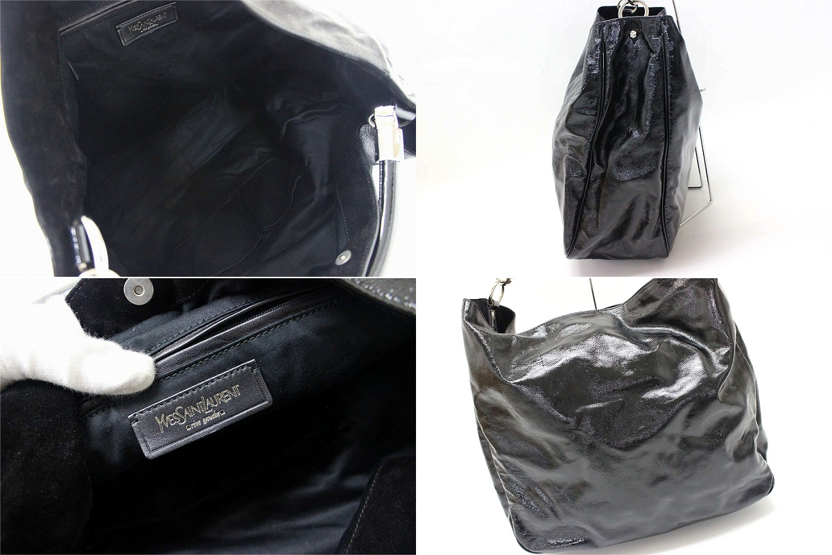 4dd149d55c0 Yves Saint Laurent YSL ROADY roadie patent leather bag semishoulder black  228840 KK owned beauty products